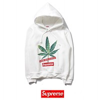 Supreme Fashion New Letter Leaf Print Women Men Long Sleeve Top Sweater White
