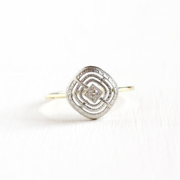 Antique Art Deco 14k Yellow & White Gold Diamond Ring - Vintage Size 9 1/2 Target Filigree Embossed Open Metal Fine Engagement Jewelry