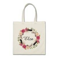 Personalized Floral Tote Bag Bridesmaid Tote Bag