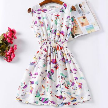 Print Casual Clothes Office Bohemian Mini Beach Dress