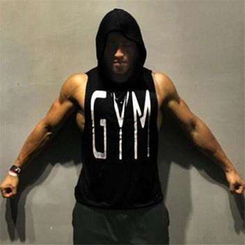 Men Workout Hooded Tank Tops Sleeveless Shirt Gyms Hoodies with Pocket Bodybuilding and Fitness Stringer Vest
