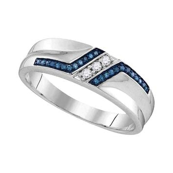 Sterling Silver Mens Round Blue Color Enhanced Diamond Wedding Band 1/5 Cttw