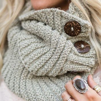 Knit Button Accent Infinity Scarf - Gray