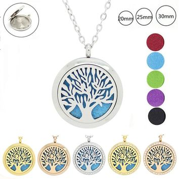 Tree of life magnetic cheap perfume diffuser necklace 316L stainless steel aromatherapy pendants 20mm 25mm 30mm free with 5pads