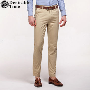 Men Khaki Dress Pants Fashion New Style Formal Office Cotton Trousers for Men