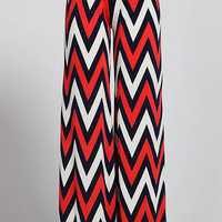 Red and Navy Blue Chevron Palazzo Pants