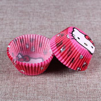 HOHOBLANC 100 pcs Hello Kitty  cupcake paper liners Muffin Cases Cup Cake kitchen accessories Pastry decorating Tools