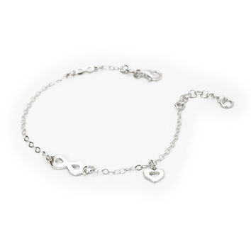 """Bracelet for Kids Sterling Silver  Infinity and Heart Charm 6""""+ 1"""""""
