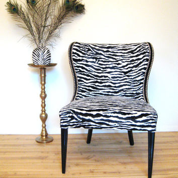 Vintage HOLLYWOOD REGENCY ZEBRA Print Slipper by fabulousmess