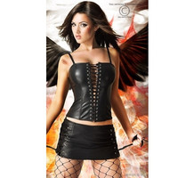 Black Strappy Ribbon Lace-Up Leather Corset  And Mini Skirt
