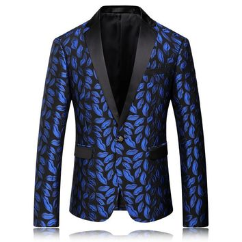 Blazer Men 2016 Royal Blue Mens Slim Fit Blazer Wedding Blazers For Men Stage Jacket Party Wear One Button Male Floral Suit Q56