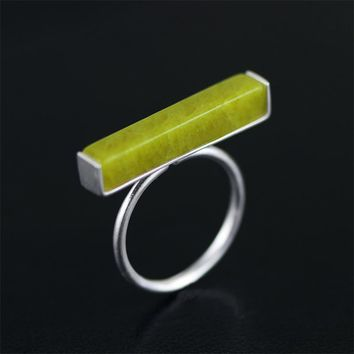 Lotus Fun Real 925 Sterling Silver Natural Olivine Stone Handmade Fine Jewelry Adjustable Ring Minimalism Rings for Women Bijoux