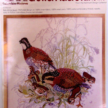 Crewel Embroidery Picture Bob White Quail  Columbia-Minerva Picture Kit