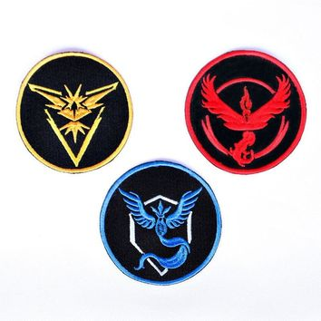 "3"" Pokemon Go Team Mystic Valor Instinct Iron On Sew-On Patch Badge for Clothing"