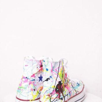 DCKL9 Adult White High Top Splatter Painted Converse Sneakers Adult Size 4, Neon Lights Colo