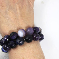 Two Purple Agate Bead Bracelet, Faceted Round Banded Agate Beads. BOHO Coachella Festival Gemstone Stacking Bracelet