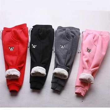 Baby Warm Pants Baby Girls Boys Fleece Trousers Puppy Pattern outwear Baby Girls Winter Pants Children Casual Trousers