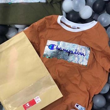 Gotopfashion Champion Sequin Shining Bust Logo Tee Shirt Full Color Lapel Top B-LFL-WX6H Four Color-Coffee