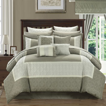 Aida Quilted 24 Piece QUEEN Room In A Bag Comforter Bed Sheet Set Taupe