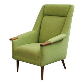 Pre-owned Tall Back Danish Upholstered Vintage Lounge Chair