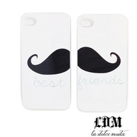 moustache BEST FRIENDS CASE one for you one for your best friend put it together to make an awesome mustache iPhone 4 iPhone 5 mix and match