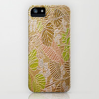 Embossed Golden Leaf iPhone & iPod Case by Judy Palkimas