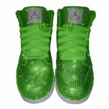 Custom Shoes, Nike Swarovski Nike Shoes, Rhinestone Shoes, Lime Green Nike, Trisha P