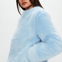 Missguided - Light Blue Collarless Faux Fur Coat