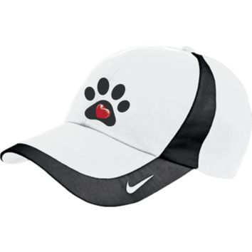 "Embroidered  ""My Heart"" Paw Print Nike Colorblock Cap"