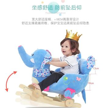 Baby Rocking Chair Baby Plastic Music Rocking Horse Large Little Horse Car Toys for Children Baby Bouncer Wooden Swing Indoor