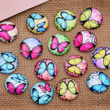 Hot Sale 30pcs 12mm Butterfly pattern Round  Handmade Photo Glass Cabochons & Glass Dome Cover Pendant Cameo Settings