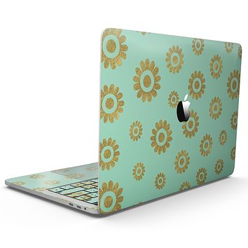 Mint and Gold Floral v10 - MacBook Pro with Touch Bar Skin Kit