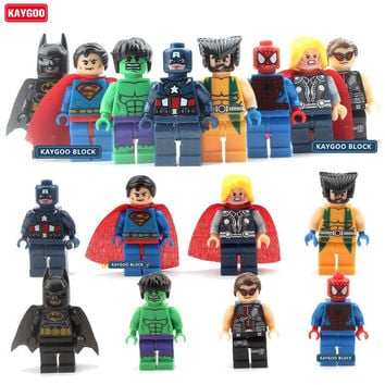 KAYGOO 8pcs/lot The Avengers Marvel DC Super Heroes Series Action Building Block Toys New Kids Toys Gift
