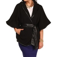 Black 3/4 Sleeve Wrap Cape Jacket