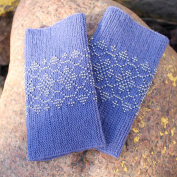 Beaded Wrist Warmers, Arm Warmers, Fingerless Gloves, Blue Gray Color with Gray Beads, Classic Traditional Flowers Pattern, Cashmere Wool
