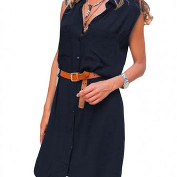 Navy Blue Pockets Buttoned Sleeveless Shirt Dress