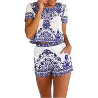 Janecrafts Women Short Sleeve Print 2 Pieces Outfit Crop Top+short Pants Jumpsuit