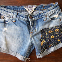 Denim Shorts Ripped Distressed Blue Jean Womens Sunflower Patch