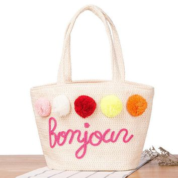 2017 Handbags for Women Summer Straw Pom Ball Letter Design Beach Bag Boho Shoulder Bags Basket Party Market Shopping Tote