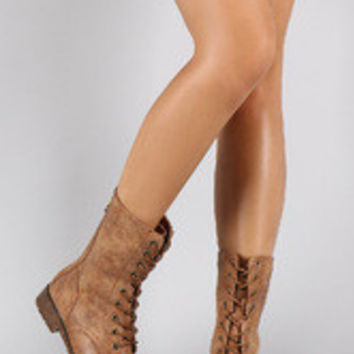 Women's Bamboo Combat Contrasting Flat Ankle Boots
