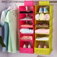 Washable 5 Candy Colors Folding Hanging 6 Compartments-S Shelf Closet Organizer Shoe Organizer Storage Bag Storage Box
