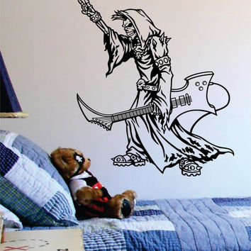 Grim Reaper Rocker Guitar Music Skull Design Decal Sticker Wall Vinyl Decor Art