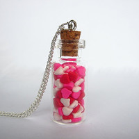 Heart Sprinkles Bottle Necklace - Valentine's Day Gift