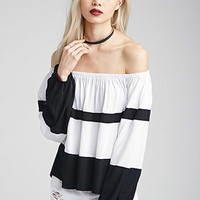 Colorblocked Off-The-Shoulder Peasant Top