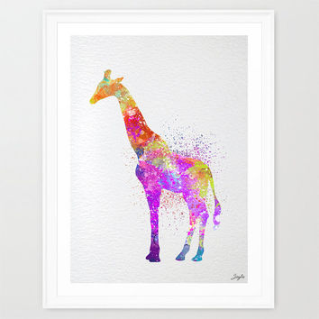 Giraffe Watercolor Art Print,Nursery Decor,Kids Wall Art,Child's Room Art, Horse,Motivational/Inspirational Print, #272