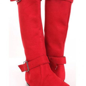 Red Faux Suede Buckle Straps Stylish Flat Boots @ Amiclubwear Boots Catalog:women's winter boots,leather thigh high boots,black platform knee high boots,over the knee boots,Go Go boots,cowgirl boots,gladiator boots,womens dress boots,skirt boots,pink boot