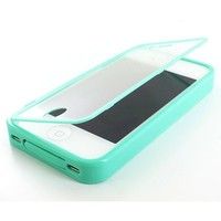 Thousand Eight Design For Apple iPhone 4 4S TPU Wrap Up Skin Case Cover w/ Built in Screen Protector (Turquoise For Apple iPhone 4 4S) (case1) (green)