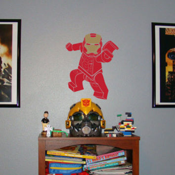 Lego Iron Man, Lego, Gotham City, wall decal, boys room decor, superhero decal, vinyl decal, wall art, wall sticker, by Otrengraving on Etsy