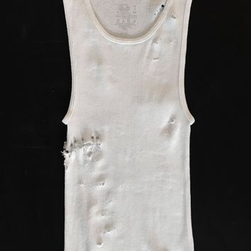 Punk Rock Lies Cutoff Pinned & Distressed Tank 003 - White