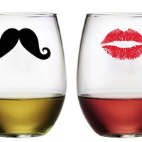 Kiss and Moustache Stemless Wine Glasses